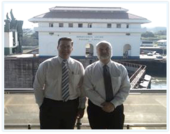 Mr. DeMarco and Pendulum HealthCare Development Corporation Caribbean Group lead development Consultant Osvaldo Ramirez MBA JD pictured here at the Panama Canal.